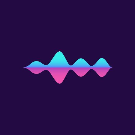 Music sound amplitude wave in bright trendy neon pink and blue colors vector illustration isolated on dark violet background. Audio frequency volume level waveform.