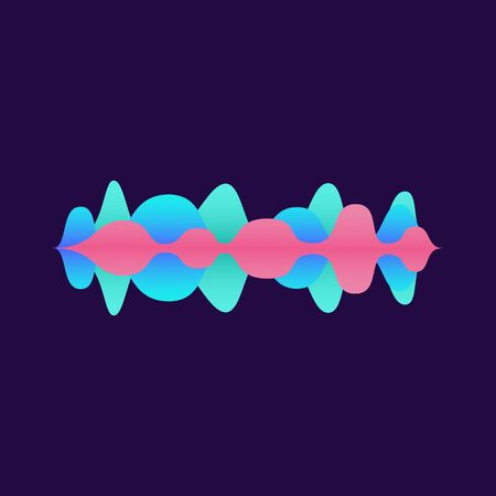 Abstract geometric sound equaliser shape design with colorful blue and pink gradient. Audio music track wave line change symbol isolated on dark background - vector illustration