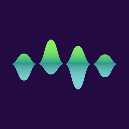 The sound wave moves. Audio and music amplitude with a blue and green gradient on a blue background. Flat vector illustration of melody amplitude.