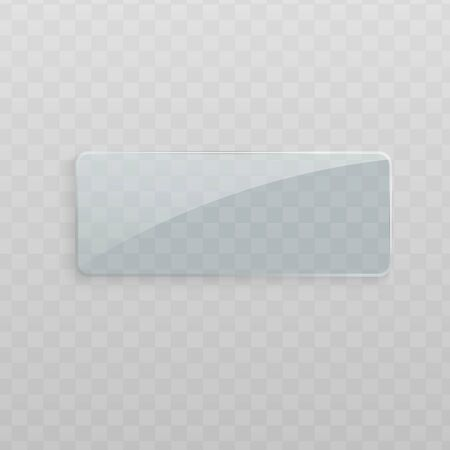 Rechteckiger Glasrahmen einzeln auf transparentem Hintergrund, klarer Kunststoffgegenstand mit leerem Kopierraum und glänzender realistischer Textur - Vektorillustration Vektorgrafik