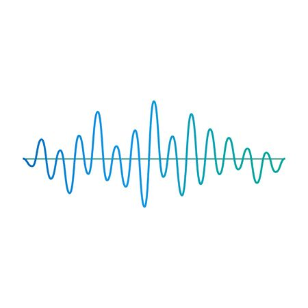 Music amplitude wave or frequency and volume curvy line icon. Technology digital symbol design element cartoon vector illustration isolated on white background. Illusztráció