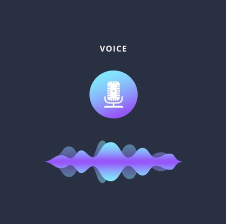 Voice message microphone icon with sound wave line isolated on black background, colorful blue and purple music equaliser and audio speech recognition sign, vector illustration