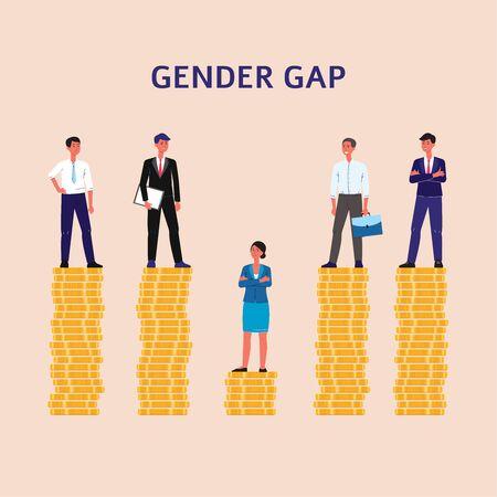 Écart entre les sexes et inégalité dans le concept de rémunération salariale avec des personnages de dessins animés d'hommes d'affaires et des femmes d'affaires sur des tas de pièces de monnaie. Illustration vectorielle plane isolée sur fond. Vecteurs