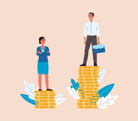 Glass ceiling and gender discrimination issues concept with business man and woman stand on coins, the difference in salary flat vector illustration isolated on background.
