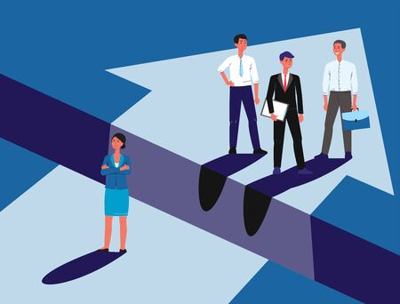 Gender discrimination - cartoon business woman sad at unequal career opportunity from men, female character standing lower then happy businessmen - flat vector illustration 写真素材 - 130029299