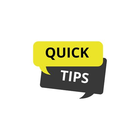 Phrase quick tips and useful idea concept, isolated flat vector illustration. Çizim