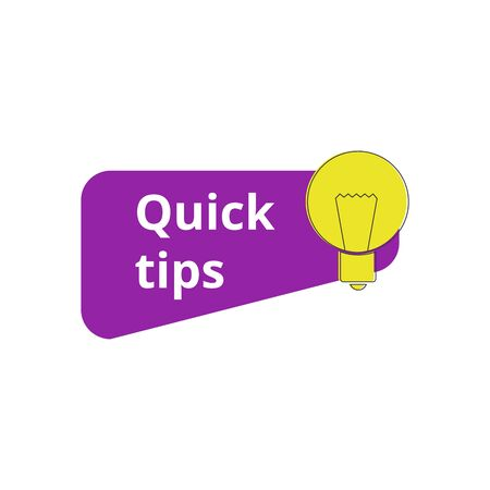 Light bulb with Quick tips mark or icon for helpful advice informative suggestion. Learning concept in bright colors cartoon vector illustration isolated on white background.