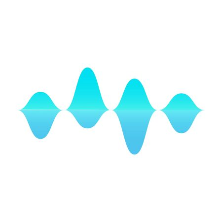 Blue sound wave symbol shape with mirror reflection - modern geometric symbol of music audio frequency and amplitude change isolated on white background - vector illustration