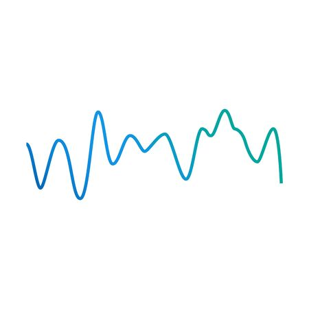 Sound wave pulse line with blue and green colorful gradient isolated on white background, dynamic audio amplitude waveform shape - vector illustration