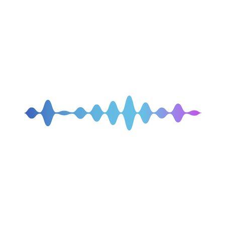 Onda sonora o registratore musicale volume grafico elemento di design moderno in colori moda neon. Illustrazione di vettore del modello di ampiezza della colonna sonora isolata su priorità bassa bianca.
