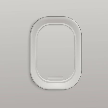 Airplane closed white window or aircrafts porthole 3d realistic vector illustration. Design element or background for tourism, travel and air transportation topic. Ilustrace