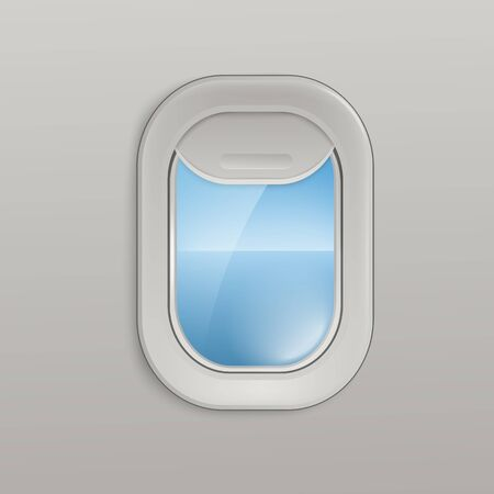 Airplane open window or aircrafts porthole with view of the sky and sea 3d realistic vector illustration. Design element or background for tourism and travel topic.