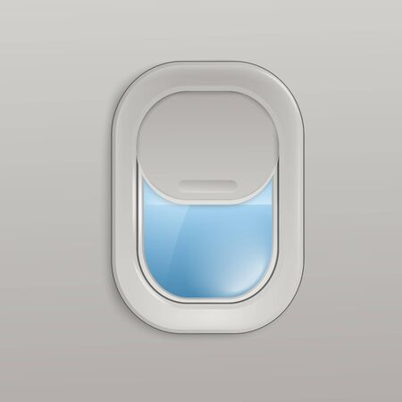 Airplane window or aircrafts porthole, illuminator with view on sea 3d realistic vector illustration. Design background or layout for tourism and travel topic. Vector Illustratie