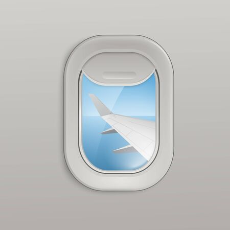 Airplane window or aircrafts porthole, illuminator with view on sea and plane wing 3d realistic vector illustration. Background for tourism and traveling topic.