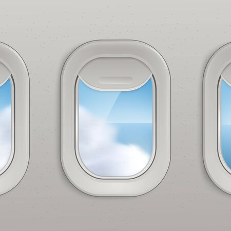 Airplane window row with realistic sea and clouds view on sunny day, line of aircraft portholes with open grey shutter looking out at serene view - vector illustration Vektorové ilustrace