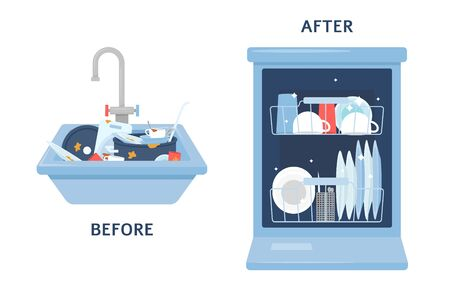 Before washing dirty dishes in the kitchen sink and after cleaning in the dishwasher flat cartoon vector illustration isolated on blue background. Comparison of household cutlery before and after washing.