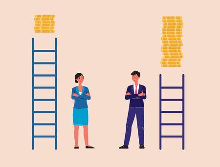 Plafond de verre et discrimination fondée sur le sexe. Homme et femme d'affaires de dessin animé avec des symboles d'une illustration vectorielle plane d'opportunités de carrière inégales isolées sur fond.