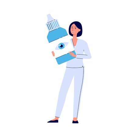 Eye doctor nurse holding a giant bottle of eye drops - cartoon woman standing and smiling with liquid medicine container - isolated flat vector illustration