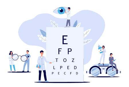 Ophthalmologists take care of patient eyes and doctor in the clinic and hospital of a woman and a man. Ophthalmology medical concept with glasses, eye examination, isolated flat vector illustration. Banco de Imagens - 130029343
