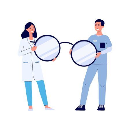 Eye doctor woman and male nurse holding a giant pair of glasses and smiling, happy medical professional people with optometrist equipment - isolated flat vector illustration Illustration