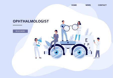 Eye clinic banner - doctor and nurse team with sight diagnostic and treatment equipment - cartoon people in medical uniform holding glasses, eye drops, test chart - flat vector illustration