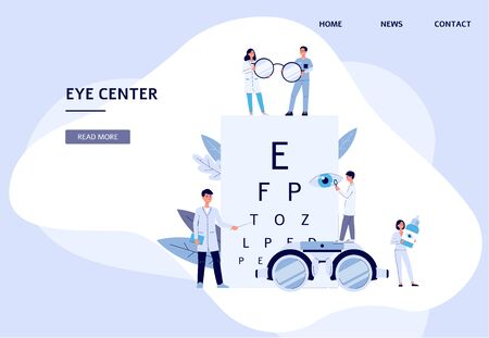 Eye center - flat landing page banner for ophthalmologist doctor clinic with cartoon optometry team holding vision health diagnostic tools. Vector illustration