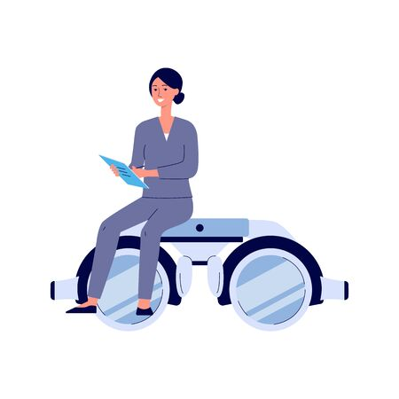 Cartoon female doctor sitting on giant pair of eye sight diagnostic glasses holding a notebook - smiling woman on sight check diagnostic binocular goggles - isolated flat vector illustration Ilustração