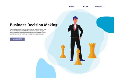 Business decision making concept banner - cartoon businessman playing chess and thinking about the next move. Flat website landing page - vector illustration Иллюстрация