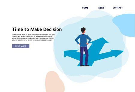 Il est temps de prendre une décision - modèle de bannière plate avec un homme de dessin animé debout au carrefour avec trois chemins et faisant un choix de route pour les affaires ou la carrière. Illustration vectorielle.
