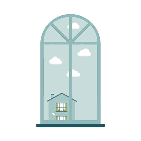 Window in retro rounded shape with city view flat cartoon vector illustration isolated on white background. Cityscape in House window with sky and clouds.