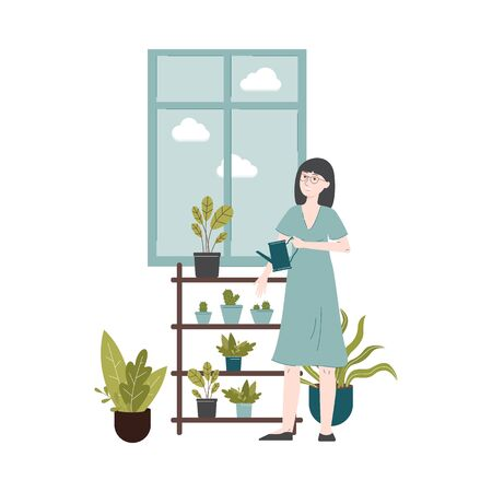 Urban jungle - woman in blue dress watering green house plants by the window, domestic gardening and modern apartment interior design - isolated flat vector illustration Фото со стока - 130029366