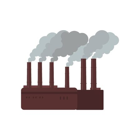 Brown factory building with grey chimney smoke - air and environment pollution by industrial manufacturing, flat cartoon isolated vector illustration on white background