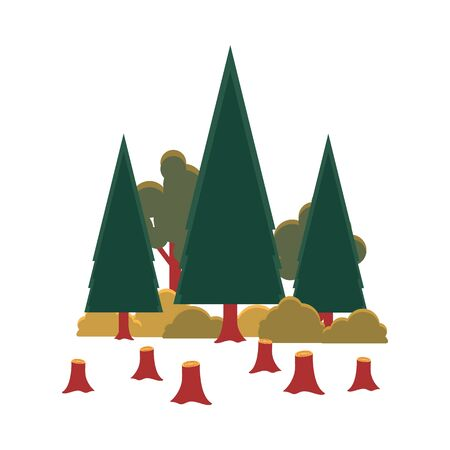 Deforestation - cartoon trees in forest with cut brown stumps in front, environmental problem concept for wood conservation. Isolated flat vector illustration.