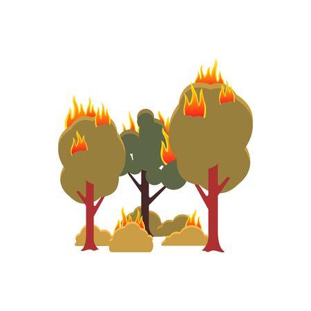 Pożar lasu - pojedyncze zielone drzewa i krzewy, na których płonie płomień. Ilustracja wektorowa płaskie kreskówka katastrofy ekologicznej i niebezpiecznego problemu