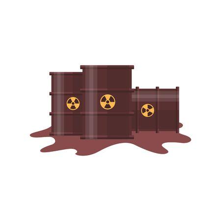 Barril de residuos tóxicos con derrame de líquido oscuro - tres barriles industriales de metal marrón con símbolo de radiación química aislado sobre fondo blanco - ilustración vectorial plana Ilustración de vector