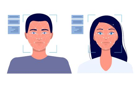 Tecnología de reconocimiento facial: rostro masculino y femenino dentro de la interfaz de escaneo de verificación de identidad. Ilustración de vector de dibujos animados aislado plano de software de sensor digital.