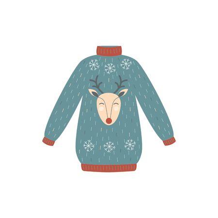 Blaue und rote Rotwild-Weihnachtsstrickjacke - Winterferien-Partykleidung mit Schneeflocken und Karikaturren. Handgezeichnete flache isolierte Vektorillustration.
