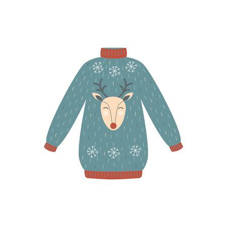 Blue and red deer Christmas sweater - winter holiday party clothing with snowflakes and cartoon reindeer. Hand drawn flat isolated vector illustration.