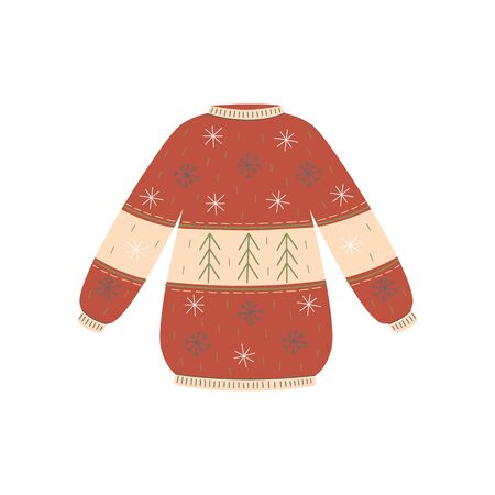 Cozy red Christmas sweater with Nordic snowflake pattern - colorful isolated jumper for New Year party or winter fashion - holiday season clothing vector illustration 写真素材 - 130029378
