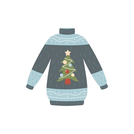 Christmas tree sweater isolated on white background - blue and grey knitted jumper with decorated New Year holiday symbol - hand drawn cartoon vector illustration Ilustracja