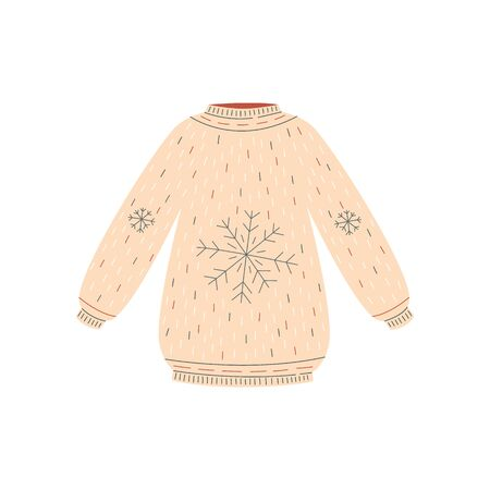 Hand drawn beige Christmas sweater with snowflake pattern, cozy warm winter clothing drawing isolated on white background - seasonal vector illustration