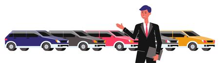 Car salesman showing new car to the customer in dealerships showroom flat cartoon vector illustration isolated on white background. Transportation vehicle retail and selling.