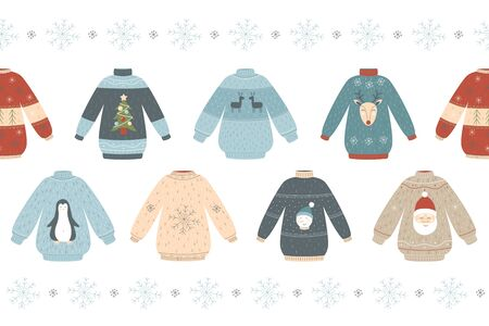 Christmas sweater seamless pattern - hand drawn isolated set of winter holiday seasonal jumpers with deer, snowman, Santa and penguin, vector illustration.