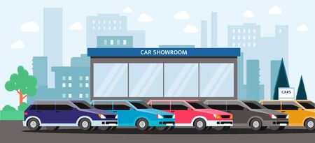 Car showroom - colorful vehicles parked outside of automobile dealership building on city landscape. Flat cartoon vector illustration of car rental or seller place.