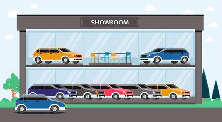 Car showroom building - colorful automobile vehicle dealership with glass walls showing many cars inside. Flat vector illustration of cartoon auto store exterior