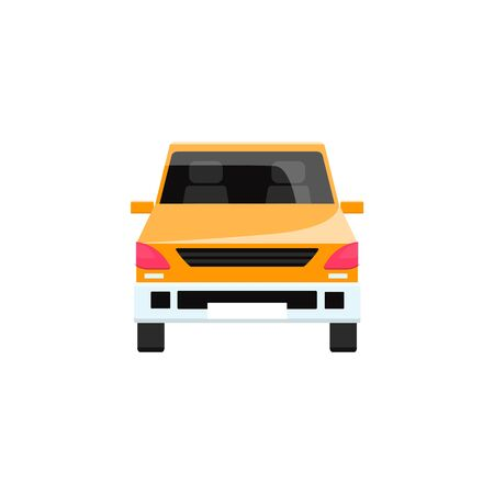 Colorful yellow car icon isolated on white background - flat cartoon vehicle with shiny texture seen from front view with no people, vector illustration.