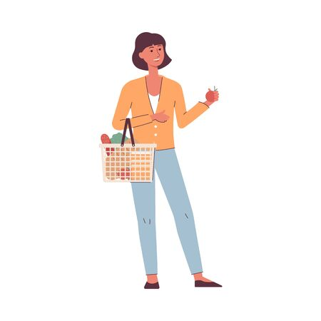 Grocery shopping - cartoon woman with basket full of food holding an apple, happy customer buying groceries - isolated flat vector illustration on white background Archivio Fotografico - 130029395