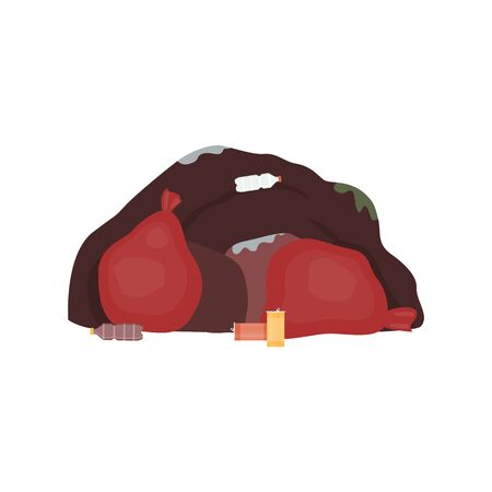 Big trash waste pile with red garbage bags, plastic bottles and aluminium cans - environment pollution concept with heap of dirty junk. Isolated flat vector illustration Banque d'images - 130029398