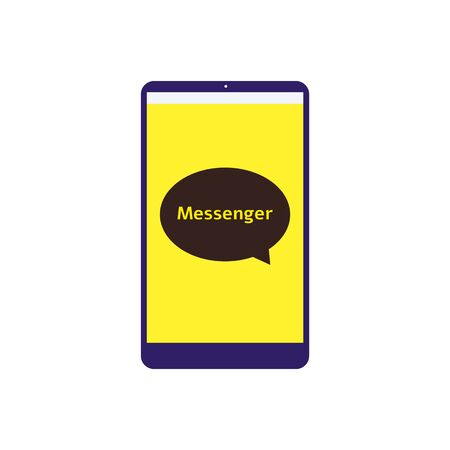 Messenger app icon on flat phone screen - speech bubble  of social media chat application in flat yellow interface - isolated vector illustration on white background
