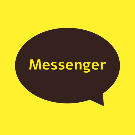 Messenger chat app icon - brown speech bubble on yellow background, colorful word  for social media communication application, flat vector illustration
